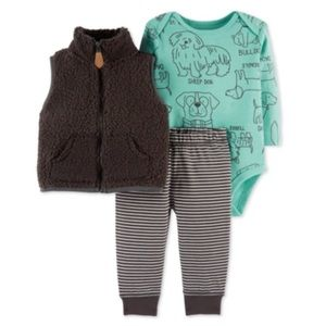3/$25 Carter's Puppy Sherpa Vest Outfit Set